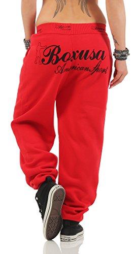 Boxusa Damen Jogginghose Thepower Design Fitnesshose Freizeithose Sporthose Rot