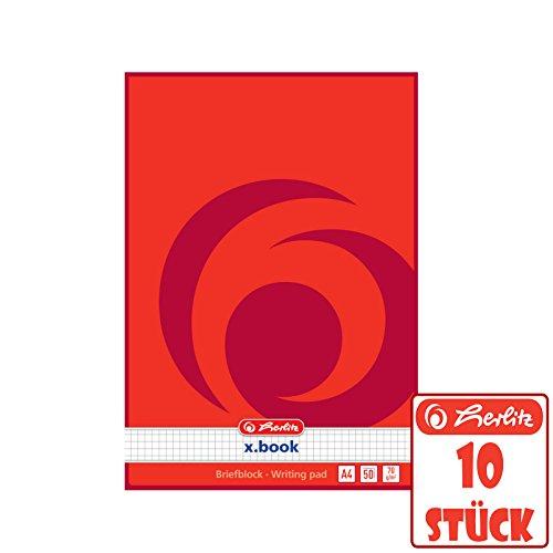 Herlitz Briefblock A4, 50 Blatt kopfgeleimt (A4 | 10er Pack, kariert)