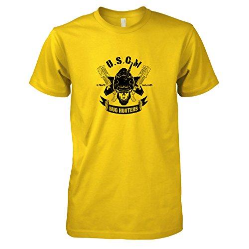 TEXLAB - USCM Bug Hunters - Herren T-Shirt, Größe XXL, gelb (Bug Hunter Kostüm)