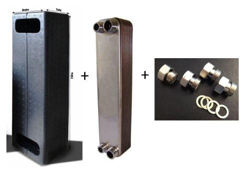 Wärmetauscher Plattenwärmetauscher gelötet WK45-40 inkl. Isolierung + reduktionsloses Verschraubungsset