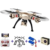 SYMA X8HW Qinyin FPV WIFI 2.0MP RC Gold Drone RTF RC Quadcopter Helicopter with 4K 1080P Remote Ultra HD Camera + 1 Gift Accessories + 2 Battery