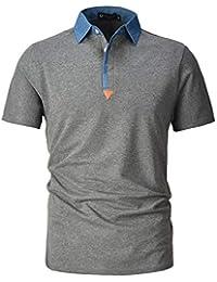 d364897f6c7 STTLZMC Polo para Hombre de Manga Corta Casual Moda Algodón Camisas Denim  Cuello en Contraste Golf