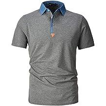 STTLZMC Polo para Hombre de Manga Corta Casual Moda Algodón Camisas Denim  Cuello en Contraste Golf e34847477a09d