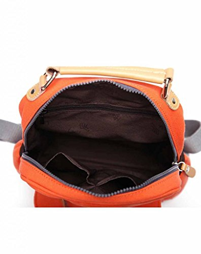 Eshow Damen Canvas Freizeit Sportlich Uni Rucksack Taschen Orange