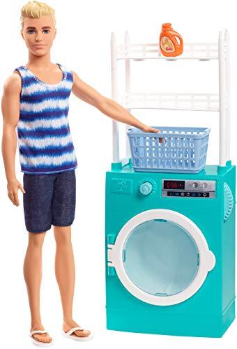 Barbie FYK52 - Ken Puppe und Waschmaschine Spielset mit Schleuderfunktion und Zubehör, Puppenzubehör ab 3 Jahren - Barbie Flip Flops