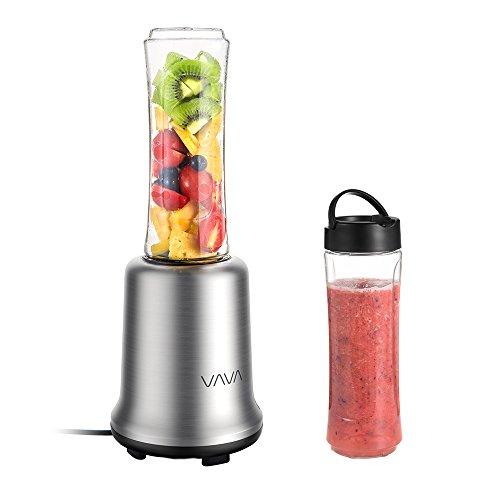 Mini Mixer VAVA Smoothie Maker Standmixer inkl. zwei 600ml Mix- / Sportflaschen 300W / 25000 U/min BPA-freie Tritan-Trinkflasche, Standmixer mit gebürstetem Edelstahlgehäuse