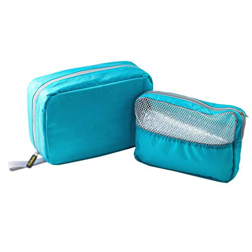 Multifonctionnel Sac De Cosmétique Pliant De Stockage Imperméable De Grande Capacité De Voyage Portable De Lavage Simple De Lavage Universel 4 Couleur 26 * 17.5 * 8.5cm MUMUJIN (Color : Blue)