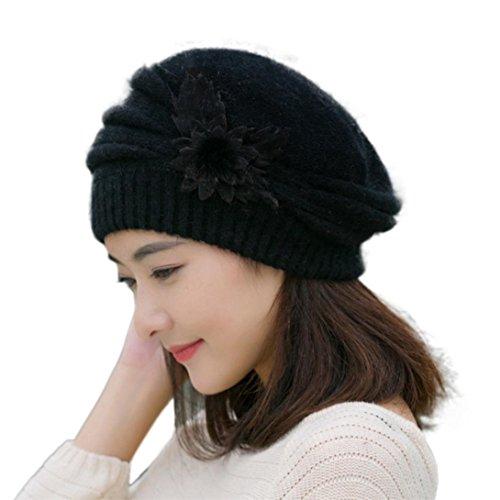 Saingace Mode Kappe Art- und Weisefrauen-Blumen-Knit-Häkelarbeit-Mütze-Hut-Winter-warme Kappen-Barett (Schwarz) (Pelz Nerz Kappe)