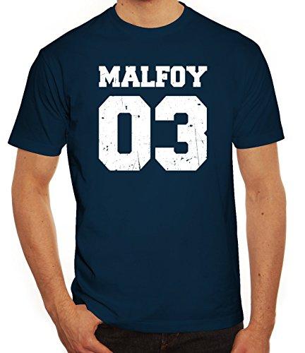 Fanartikel Fan Kult Film Trikot Herren T-Shirt Malfoy 03, Größe: 3XL,Dunkelblau