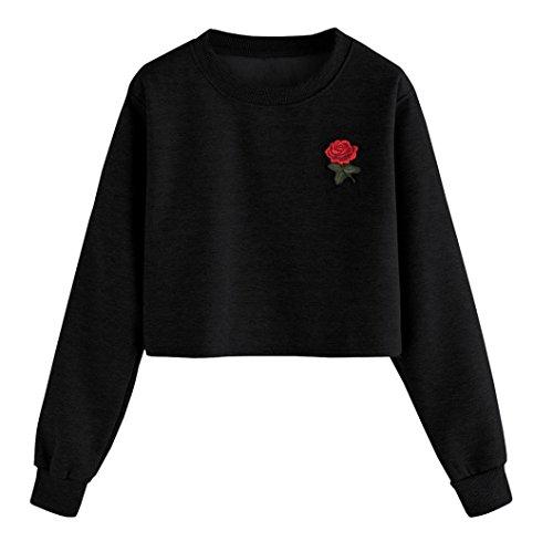 Xinan Damen Kapuzenpullover Damen Sweatshirt Hoodie Shirt Crop Top (M, ▶☺Schwarz)