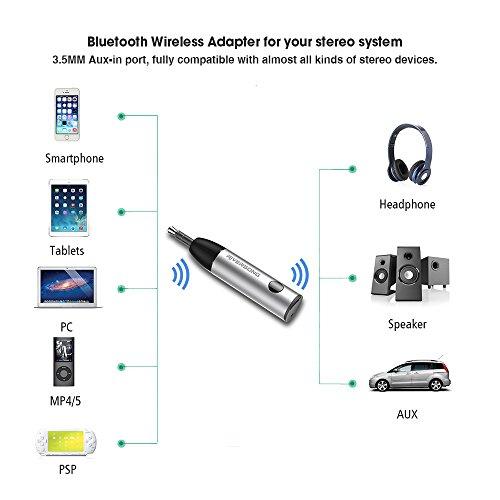 RIVERSONG Ricevitore Bluetooth Streambot Mini Ricevitore Wireless Auto Audio Senza Fili Musica Stereo con 3,5 mm Jack Audio per Smartphone per Sistema di Stereo in Auto Argento