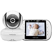 """Motorola MBP 36SC - Baby monitor video digitale con schermo LCD a colori da 3.5"""", modo eco e visione notturna, bianco"""