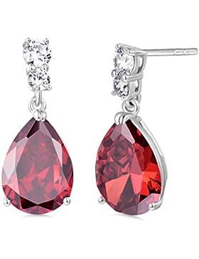 GULICX Hochwertig Granat Farbe Zirkonia CZ Schraubverschluss Ohrringe Trofen Silber-Ton Rot Kristall Ohrhänger