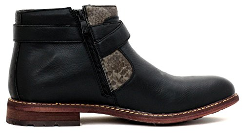Hommes Bottine Motard Chaussures Boucle Décontracté Chic Fermeture Éclair Marche Taille Noir