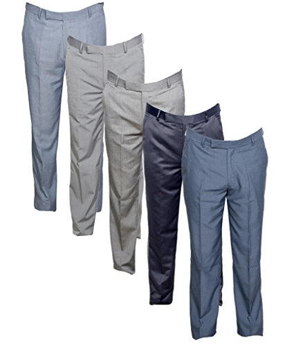 IndiWeaves Men's Rayon Formal Trousers (Pack of 5)_Gray::Gray::Gray::Gray::Gray_Size: 36