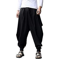Talla Grande Pantalones Cortos con Bolsillos Pantalones Bombachos para Hombres Estilo Genio para Yoga Holgados pantalón