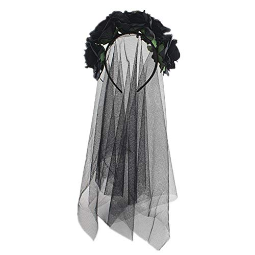 Biback Rose Stirnband Blumen Krone Blume Schleier Kopfschmuck Day The Dead Halloween Kostüm, schwarz