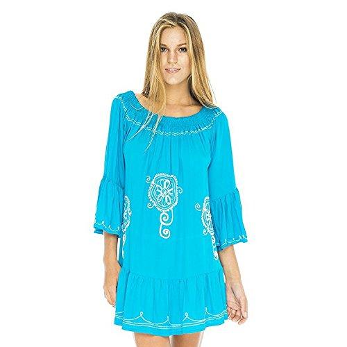 Damen Tunika Kleid langen Ärmeln Bohemian Gr. One size, türkis (Lila Renaissance Kleider)