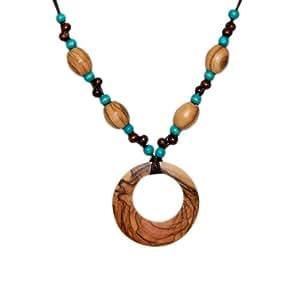 Collier de perles en bois brunes et turquoises avec grand pendentif cercle en bois d'olivier - commerce équitable