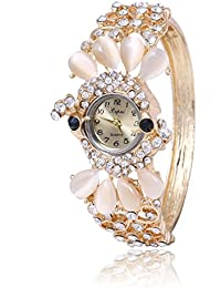 Skylofts Analogue 18k Gold Plated Women's Bracelet Party Wear Watch Ladies Wedding Watch
