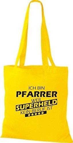 Shirtstown Stoffbeutel Ich bin Pfarrer, weil Superheld kein Beruf ist gelb