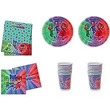 ALMACENESADAN 0461, Pack Desechables Fiesta y Cumpleaños PJ Masks, 16 Vasos, 16 Platos