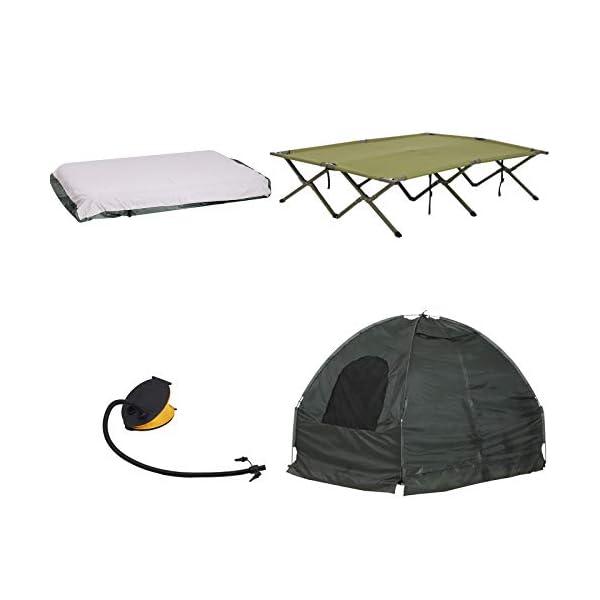 Outsunny Set da Campeggio Tenda Letto 2 Persone Materasso Gonfiabile con Borsa per Il Trasporto Polietilene Verde