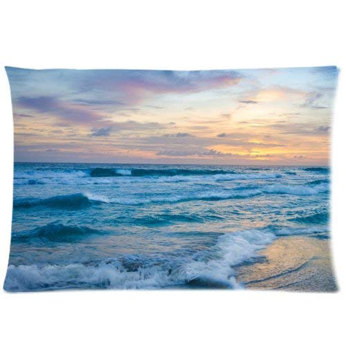 fujianshen Ocean Wave at Sunset Custom Zippered Pillow Cases Soft and Confortable 20