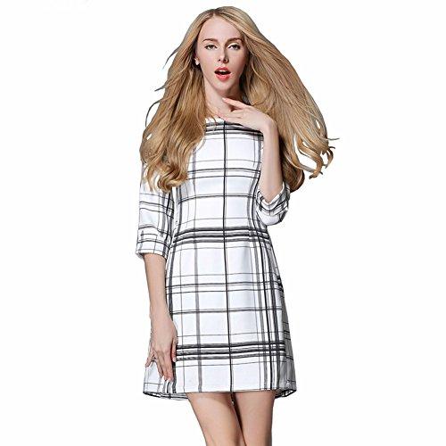 Yomeni Damen A-Linie Kleid Gr. XX-Large, Weiß / Schwarz (Trim Lace Dot Weiß Schwarz)