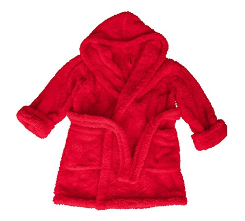 Dkaren Kinder Kuscheliger Jungen und Mädchen Bademantel mit Kapuze (98-152) (116, Rot) (Klassische Kimono-robe)