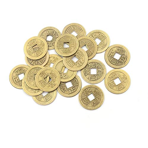 100 Pieces 1inch Chinese Fortune Coins Feng Shui I-Ching Coins Good Luck Coins Random Mixed 9 Differern Chinese Qing Dynasty Time Coin for Wealth and Success Lucky Gift