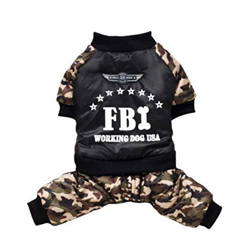 Longzhuo Haustier Hund FBI Camouflage Kostüm Overall Wintermantel Jacke Pet Puppy Kleine Hund Overall Kleidung (XXL)