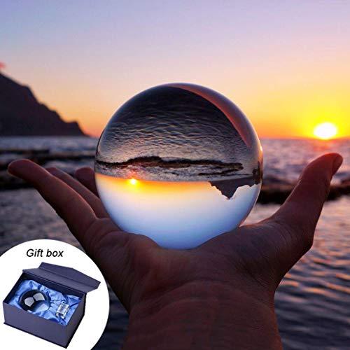 Boule pour objectif photo, boule en cristal K9 avec pochette en microfibre, accessoire décoratif et photographie, Cristal, 80mm with stand-gif