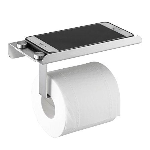 Mari Life Toilettenpapier-Halter, zur Wandmontage, aus Edelstahl, mit Ablage fürs Handy, horizontal, 9 x 10 x 17,8 cm -