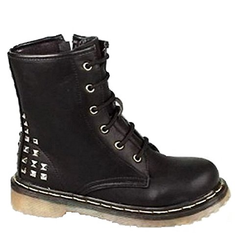 Ladies Womens Girls Low Heel Classic Lace Up Combat Biker Ankle DM Style Goth Boots (UK 1, Black Studded)