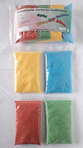 Zucker für bunte Zuckerwatte mit Geschmack 4x200g - Apfel - Erdbeere - Banane - blaue Himbeere | Perfekt für jede Zuckerwattemaschine geeignet | 800 Gramm gesamt