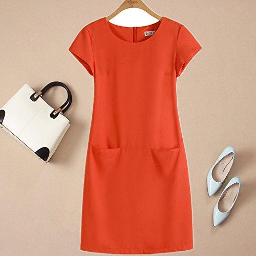 Xuanku Sommer, Europäische Und Amerikanische Frauen - Kleid, Große Seidenkleid, Kurzärmeliges Frau, Slim Schlank, Seide, Hanf, Einen Rock,2XL,Orange - Rot -