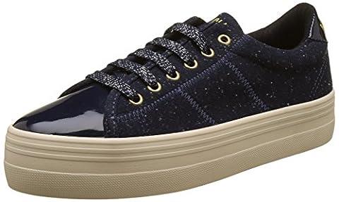 No Name Plato Sneaker Patent/Polar, Baskets Basses Femme, Bleu (Navy/Navy), 38 EU