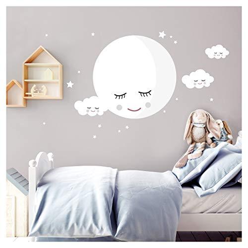 Little Deco Wandsticker Mond & Wolken I Weiß L - 55 x 55 cm (BxH) I Kinderzimmer Wandtattoo Mädchen Junge Baby Deko Zimmer DL246-3-L