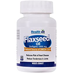 Healthvit Cold-Pressed Flaxseed oil (omega 3-6-9) 1000mg 60 soft gels capsules