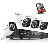 SANNCE XPoE Kit de 4 Cámaras de Vigilancia Seguridad 1080P CCTV 4CH NVR P2P y 4...