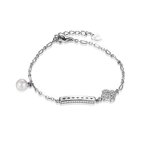 VOGUEA Silberfarbenes 925Sterling Silber 6mm Strip Hohl CROSSING mit Perle und Blumen hochwertige Pfeil Herz Zirkon Inlay 16,2cm Kette Armband Schmuck -