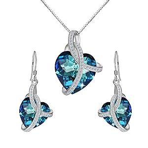 Clearine Damen 925 Sterling Silber CZ Unendlichkeit Love Herz von der See Kette Ohrringe Schmuck Set Kristall von Swarovski