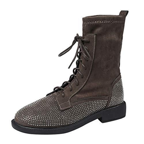 GNYD Damen Boots Winter rutschfest Stiefeletten Leder Flache SchnüRschuhe Runde Kappe Kristall Freizeitschuhe Kurze Stiefel