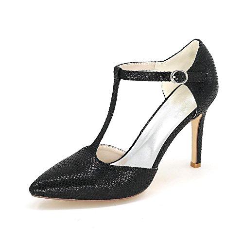 L@YC Donna Tacchi alti Scarpe Da Sposa In Pelle artificiale Di Grandi Dimensioni Pulsante Personalizzato Con Scarpe Fine Black