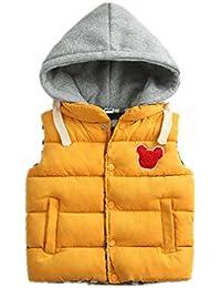 YueLian Niños Niñas Invierno Patrón de Osito Abrigo Grueso Chaquetas sin Mangas Chaleco Infantil Outwear Vest Amarillo