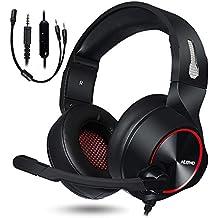 NUBWO Auriculares para juegos, PS4 Xbox One, auriculares estéreo para PC, cancelación de ruido, auriculares para videojuegos con micrófono, comodidad, audífonos de memoria, control de volumen para Xbox 1 Playstation 4 Controller Laptop rojo rosso