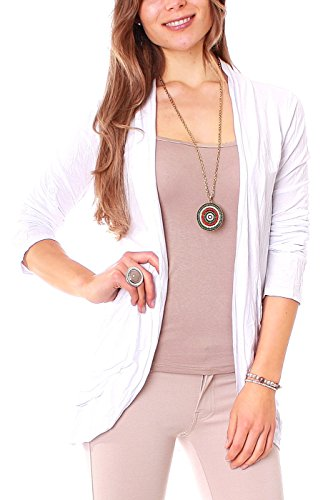 Easy Young Fashion Damen Jersey Open Cardigan Weiß