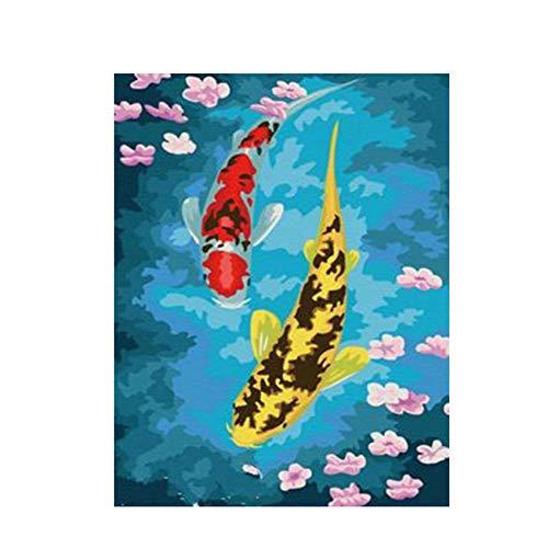 GKJRKGVF Koi Fische DIY Malen nach Zahlen abstraktes blaues See-Ölgemälde auf Acrylzeichnungs-Wand-Kunst