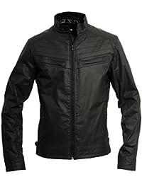 Mens Crosshatch Lightweight Faux Leather Biker Style Jacket - Stinging Black